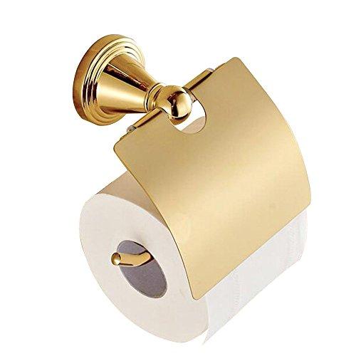 CASEWIND WC Papierhalter Toilettenpapierhalter Klorollenhalter, Messing Konstruktion für Dusche Prunkvoll Luxus Europäsich Poliert Gold Finished zum Bohren Wand