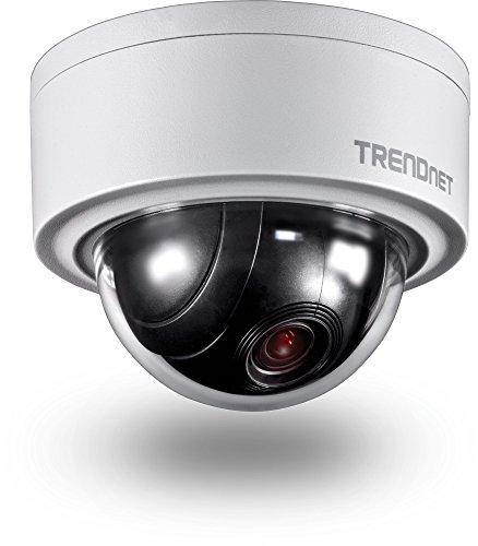 TRENDnet TV-IP420P Innen/Außen 3MP Motorisiert PTZ Kuppel Netzwerk Kamera, 4x Optischer Zoom, 16x Digitaler Zoom, Autofokus, IP66 Gehäuse, Kostenloses iOS und Android mobile Apps, ONVIF Profil S