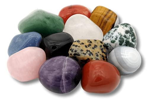 METAVIO 12 Stück ausgewählte natürliche Edelsteine im Beutel | Farbenfrohes Steine-Set zum Sammeln und Entdecken, für Kinder, als Heilsteine und Handschmeichler, zur Dekoration oder als Give-away