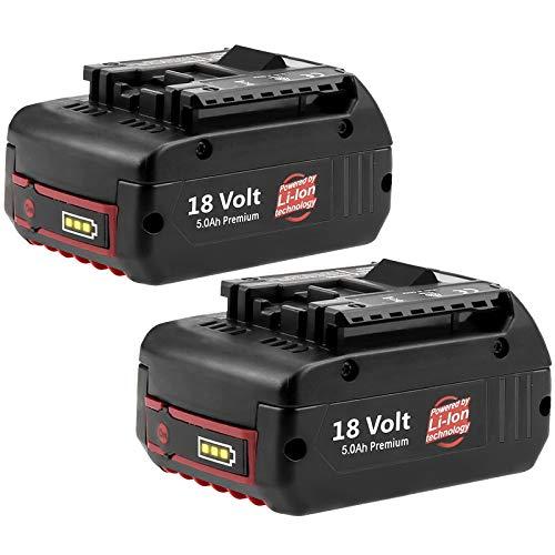 2Pack 18V 5.0Ah BAT610G Replacement for Bosch Battery BAT609G BAT609 BAT619 2607336169 BAT618G 2607336235 BAT610G BAT620 BAT621 Cordless Drill