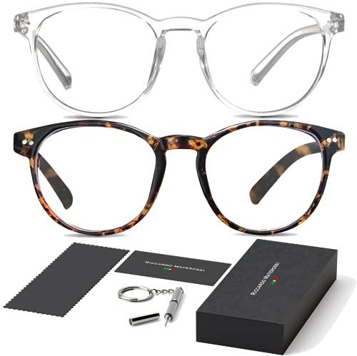 2er-Set Blaulichtfilter Brille   Unisex   Lesen PC-Spiele Bildschirm   Schlaffördernd   Schont die Augen   Für den Gebrauch von digitalen (Klarer, Runder Rahmen und Runder Schildpatt-rahmen)