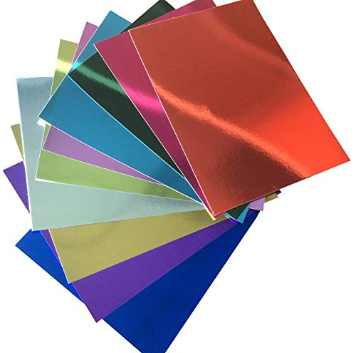 Premium 10 Sheets Mirror foil Board Sparkling Assorted Colors Cardstock Reflective, Shiny Poster Board 8.5 x 11 inches 250GSM Use for Scrapbooking Paper Cutting Bending Or Shaping