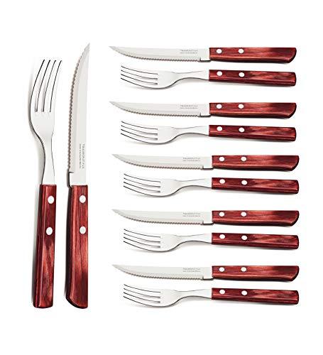 Tramontina 29899-219 29899/219 Steakbesteck, Pizzabesteck, Set 12-teilig, mit 6 Steakmessern und 6 Steakgabeln, Edelstahl, FSC, AISI 420, roter Echtholzgriff