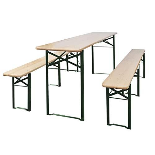 vidaXL Table de brasserie pliable avec 2 bancs 220 cm Bois de sapin