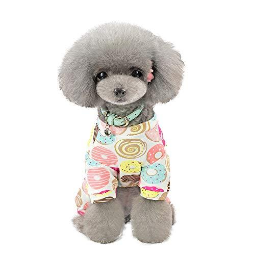 ZEZKT Mascota Primavera y Verano impresión Vestido Trajes de Perro Ropa de Mascota Ropa casera para Perros y Gatos Disfraz de Mascota Linda de Dibujos Animados 8
