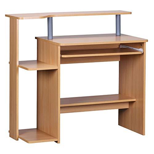 FineBuy Computertisch CEVO Buche 94 x 90 x 48 cm mit Tastaturauszug | Laptop Tisch ohne Rollen mit Aufsatz | PC-Tisch mit Drucker-Ablage platzsparend | Schreibtisch für kleine Räume