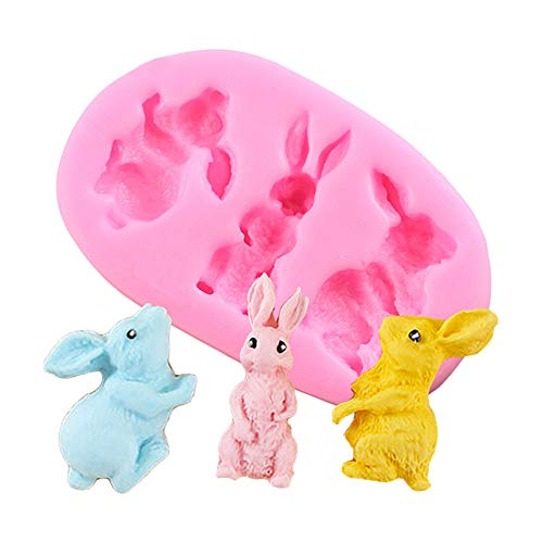 Creative 3D Cute Rabbit Bunny Animal Silicone Mold for DIY Candy Gum Paste Jelly Shots Chocolate Cupcake Cake Topper Decoration Fondant Mold Ice Cube Soap Mould Handmade Ice Cream