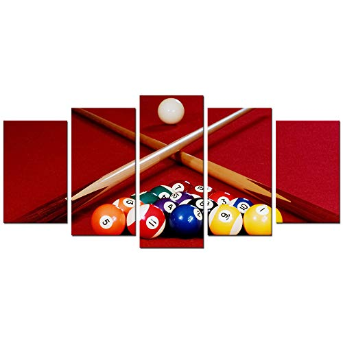 Biuteawal Playing Pool Table Billiard Balls Picture Canvas Wall Art Sport Giclee Prints Snooker Photo Painting for Home Game Room Club Bar Wall Decoration
