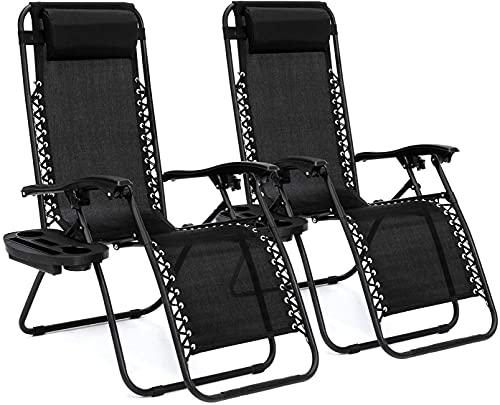 2 piezas de tumbona de jardín con taza de teléfono móvil y estantería-plegable silla de playa patio jardín camping silla gravedad cero silla al aire libre negro