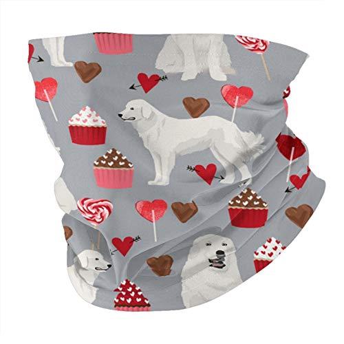 ZHANGPEIENfaqi Gran pirineos perro lindo San Valentín amor perros magdalenas y corazones variedad cabeza bufanda moda máscara facial a prueba de sol moda bandana cara toalla para hombres y mujeres
