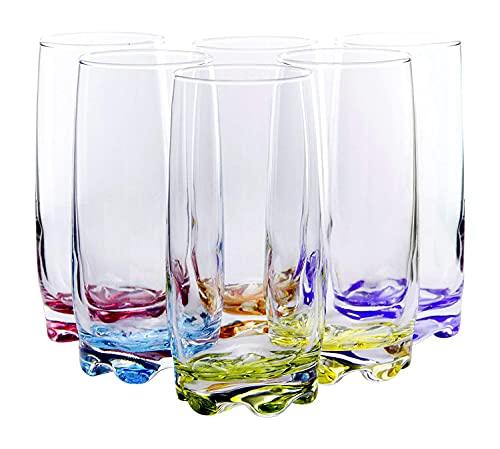Vibrant Splash Water, Beverage Highball Glasses, 13.25 Ounce - Set of 6
