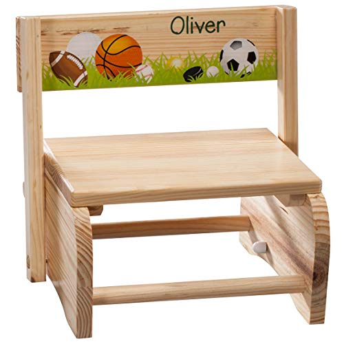 Fox Valley Traders Personalized 2-in-1 Children's Step Stool and Chair, Customized with Kid's Name, Sports Design