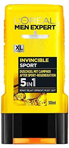 L'Oréal Men Expert Invincible Sport Duschgel, mit Zitrusduft reinigt Gesicht, Körper und Haare ohne auszutrocknen regeneriert Muskeln nach Sport (1 x 300 ml)