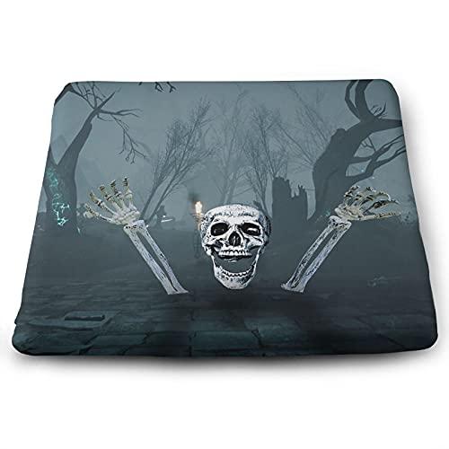 NMTUHAO Cojín cuadrado de esqueleto de calavera de Halloween,Cojines, Espuma para cojines,Asiento de espuma de memoria Cushion-Square,Cojín de poliéster
