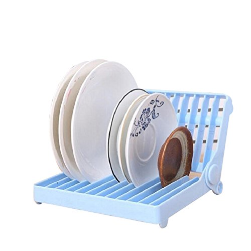 Quanjucheer - Estante organizador para platos (plegable, herramientas de cocina) 21.3cm x 12cm x 17.5cm azul
