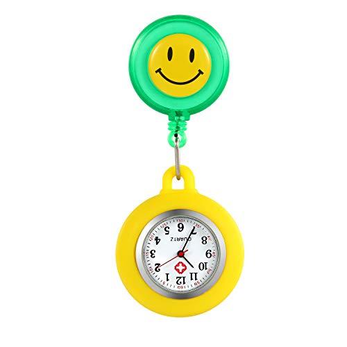 LANCARDO Uhren, Silikon Krankenschwester Armbanduhr FOB-Uhr Damen Lächeln Digitale Analog Revers Stretch verstellbar Länge Taschenuhr (grün)