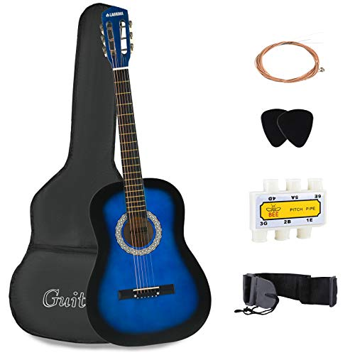 Price comparison product image LAGRIMA 38 inch 4 / 4 Size Beginner Acoustic Guitar Starter Kit Kids Adult with Guitar Case,  Strap,  Tuner & Pick Steel Strings (Blue)