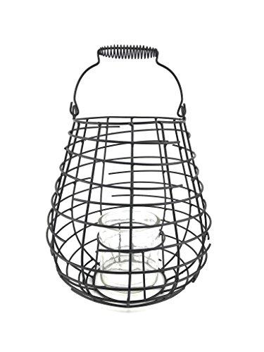 Laterne Windlicht aus Metall Schwarz – Höhe 26,5 cm - Metalllaterne für draußen als Gartenlaterne, oder Innen als Tischlaterne