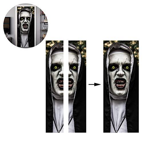 Kylewo Nun Stickers, Zelfklevende Horror Ghost Nun Deur Behang Vinyl Verwijderbare Stickers voor Thuis Badkamer Kamer Party Decoratie Props