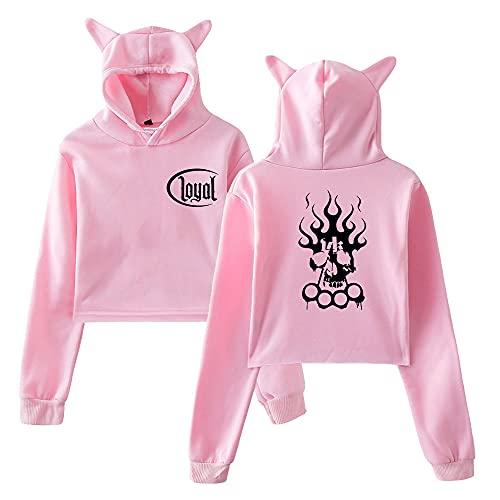Kontra K Merch Hoodies Damen Katzenohren Kawaii Top Hooded Sweatshirt Mädchen Trainingsanzug, Pinkb, 36