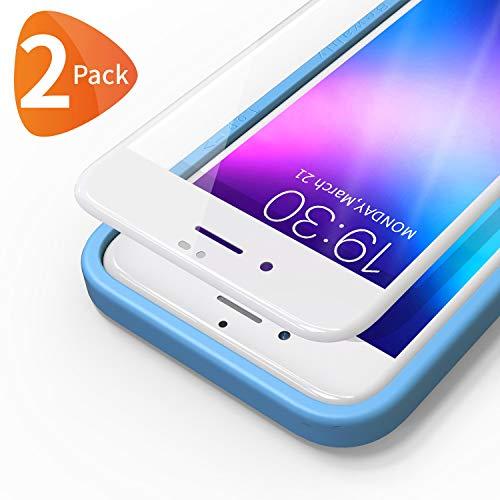 Bewahly Panzerglas Schutzfolie für iPhone 8/7 / SE 2020 [2 Stück], 3D Full Screen Panzerglasfolie 9H Härte Displayschutzfolie mit Installation Werkzeug für iPhone 8/7 / SE 2 (4,7 Zoll) - weiß