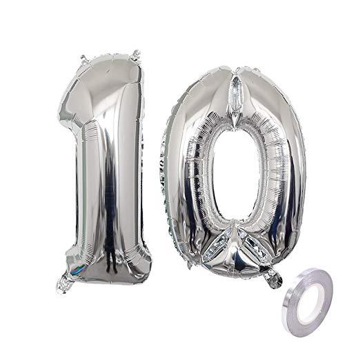Haosell Party Folienballon Zahl 10 Silber Helium Luftballon Nummer 10 Geburtstag Nummer 10 Geburtstag Party Dekoration Luftballon Geburtstag XL Folienballon 32