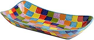 Colorful Small Rectangular Platter - Rainbow Colors Dinnerware & Kitchen Décor - Handmade in Italy from Our Modigliani POP Check Collection