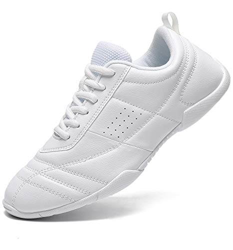 Mfreely Cheer Shoes for Girls White Cheerleading Athletic Dance Shoes Flats Tennis Walking Sneakers for Women White3 7.5 B (M) US