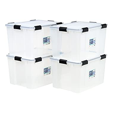 IRIS 74 Quart WEATHERTIGHT Storage Box, 4 Pack, Clear