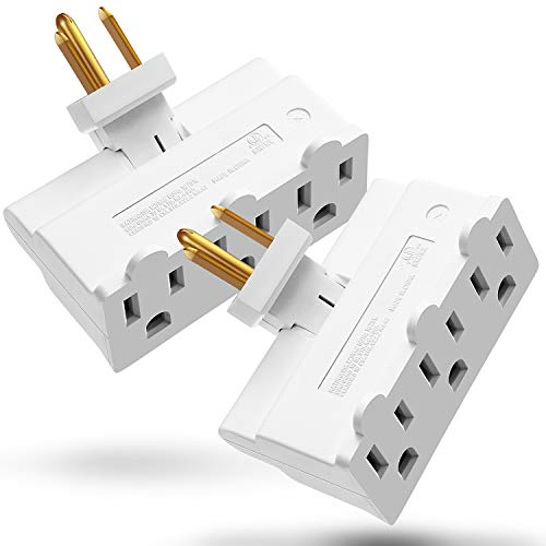 3 Outlet Wall Adapter (2 Pack), Fosmon ETL Listed 3-Prong Swivel Grounded Indoor AC Mini Plug Wall Outlet Extender Tap (White)