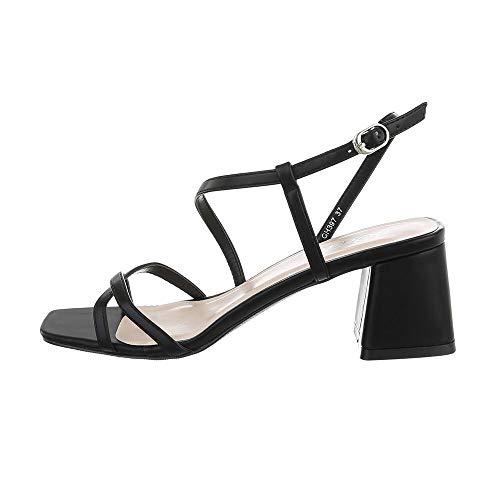 Ital Design Damenschuhe Sandalen & Sandaletten High Heel Sandaletten, GH397-, Kunstleder, Schwarz, Gr. 39