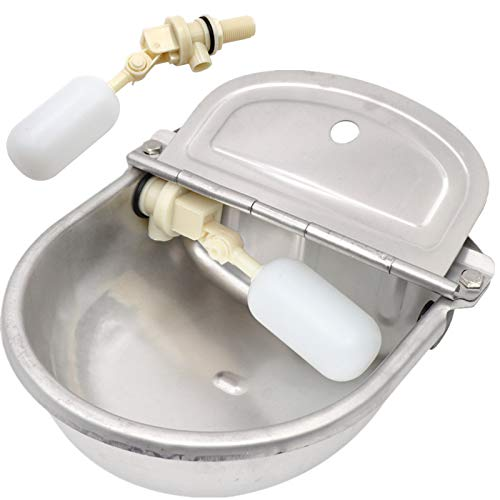 M.Z.A Acero Inoxidable Automático Waterer Bowl Ganado Cuencos de Agua con 2 piezas de Válvula de Flotador Caballo Ganado Cabra Oveja Cerdo Perro Flotador Válvula de Agua