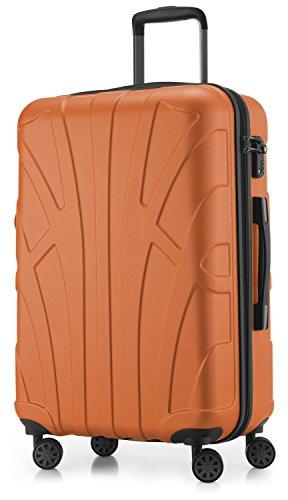 Suitline Hartschalen-Koffer Koffer Trolley Rollkoffer Reisekoffer, TSA, 66 cm, ca. 58 Liter, 100% ABS Matt, Orange