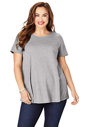 Roamans Women's Plus Size Swing Ultimate Tee with Keyhole Back Short Sleeve T-Shirt - M, Medium Heather Grey