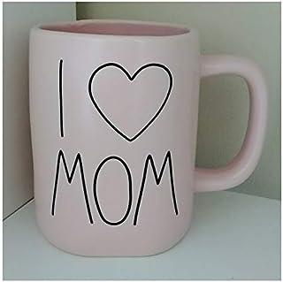 Rae Dunn Artisan Collection by Magenta Solid Pink I Love Mom Heart Icon Coffee Tea Mug LL
