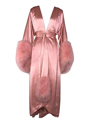 BathGown Women's Robe Fur Nightgown Bathrobe Sleepwear Feather Bridal Robe with Belt Pink