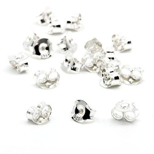 NaturSchatulle Ohrstecker Butterly Verschluss 100% Sterling Silber 925 I 2 Paar I Ohrstopper Basteln Selber Machen Pousetten Schmuckherstellung