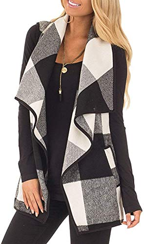 Yanekop Womens Lapel Sleeveless Open Front Hem Plaid Vest Cardigan Jacket with Pockets(Black 1,M)