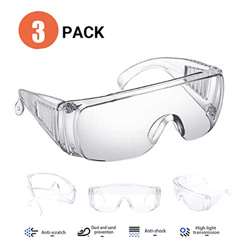Schutzbrille klar Überbrille Schleifbrille für Brillenträger Laborbrille Sicherheitsbrille |Für Baustelle, kratzfest und beschlagfrei Werkstatt, Fahrrad-Fahren, Joggen | Klar