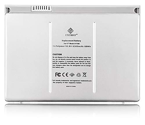 Egoway Replacement Battery Compatible with Mac Book Pro 17 inch A1189 A1151 A1212 A1229 A1261 (Aluminum Body as Original)