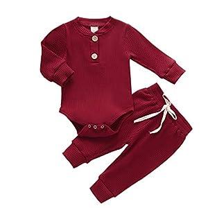 NBAA Neugeborene Baby Mädchen Jungen Langärmelige Einfarbige Boxenstreifen Lockere Lässige Wintermode Warme Kleidung Stretchhosenanzug Outfits Set
