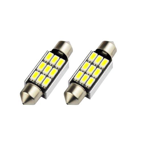 Akhan S36C9WK - Blanc Canbus Festoon Lumière C5W 36mm 9 LED SMD éclairage de plaque d'immatriculation éclairage intérieur (pas d'erreur)