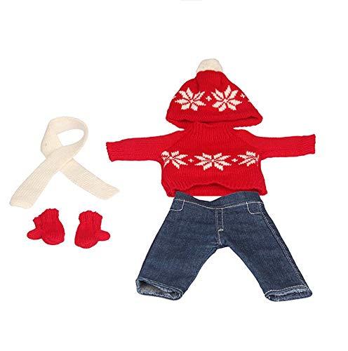 DUORUI Vestiti per Bambole Abito Invernale Vestito Natalizio Maglione Jeans Pantaloni per Bambola American Girl da 18 Pollici