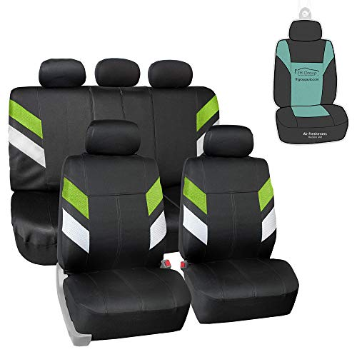 FH Group FB086115 Modern Edge Neoprene Seat Covers (Green) Full Set with Gift - Universal Fit for Trucks, SUVs, and Vans