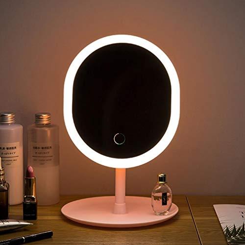 CALISTOUK 1 x Schreibtisch-Make-up-Spiegel mit LED-Lichtern, tragbarer USB-Speicher, eingesteckter Elektrizitätsspiegel, ovaler Spiegel