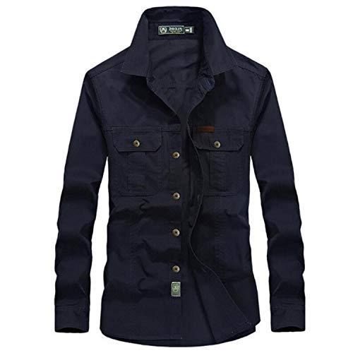 2021 New Spring Military Shirt Men Casual Long Sleeve 100% Cotton Denim Pocket Shirts Plus Size 5XL 6XL