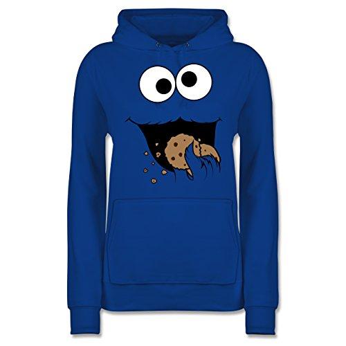 Karneval & Fasching - Keks-Monster - M - Royalblau - lustige Hoodies Damen - JH001F - Damen Hoodie und Kapuzenpullover für Frauen