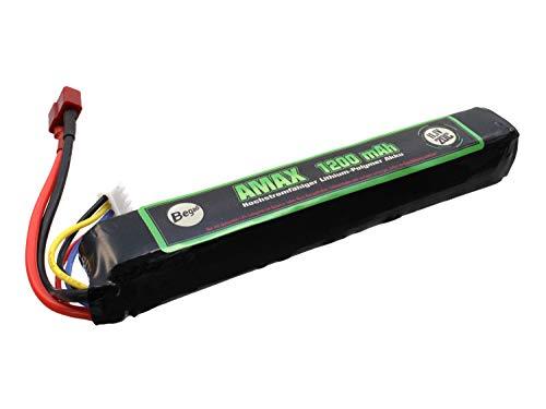 BEGADI 'AMAX' LiPo Akku 11,1V 1200mAh 20C Single Stick mit Dean & Adapter auf Mini TAM 13,2 x 2 x2cm