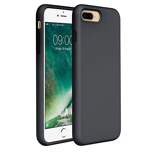 """Miracase iPhone 8 Plus Silicone Case, iPhone 7 Plus Silicone Case Silicone Gel Rubber Full Body Protection Shockproof Cover Case Drop Protection for Apple iPhone 7 Plus/iPhone 8 Plus(5.5"""")-Black"""