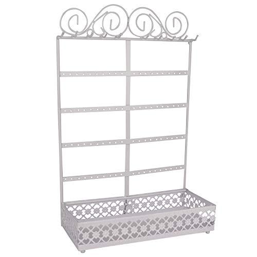 BELLE VOUS Soportes para Joyas - (26x40x12cm) Soporte Expositor de Joyas Metal con contenedor Rectangular, 10 Ganchos y 80 Agujeros - Organizador Colgante de Pared para Collares, Pendientes (Blanco)